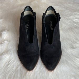 Black suede bootie by Charles David size 8 1/2